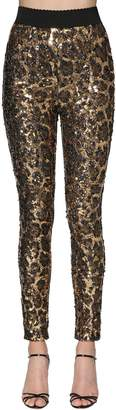 Dolce & Gabbana Leopard Sequined Leggings
