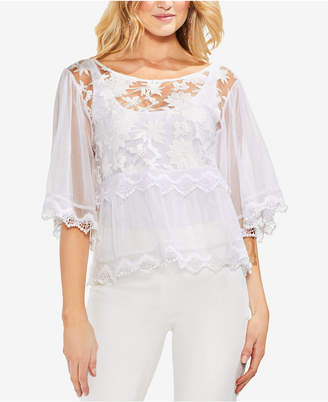 Vince Camuto Sheer Embroidered Top