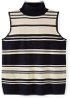 525 America Navy-Stripe-Sleeveless Mock Turtleneck