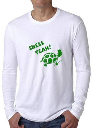 Hollywood Thread Shell Yeah! - Funny Turtle Hell Yeah Graphic Men's Long Sleeve T-Shirt