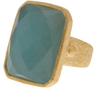 Rivka Friedman 18K Yellow Gold Plated Hammered Blue Quartzite Ring