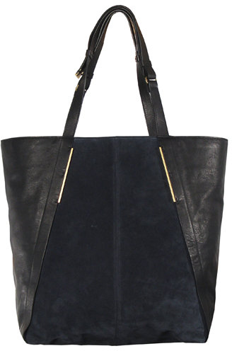 Lanvin Large Suede & Leather Shopping Bag In Blue