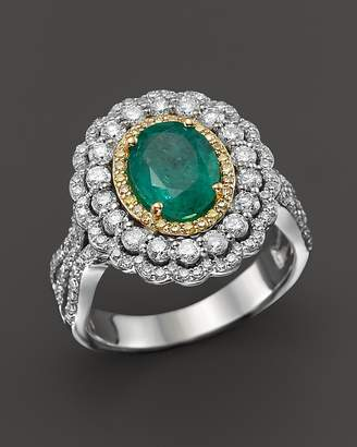Bloomingdale's Emerald, Yellow Diamond and White Diamond Ring in 14K White and Yellow Gold - 100% Exclusive