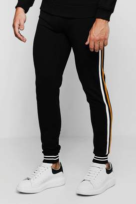 boohoo Jersey Joggers With Double Side Tape Detail