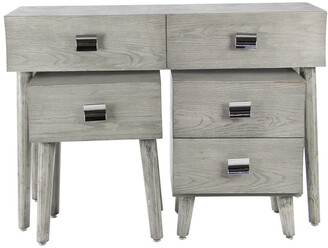 Uma Enterprises Modern 3Pc Wood & Stainless Steel Drawer Console & Chest Set
