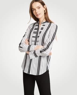 Ann Taylor Stripe Pleated Ruffle Perfect Shirt
