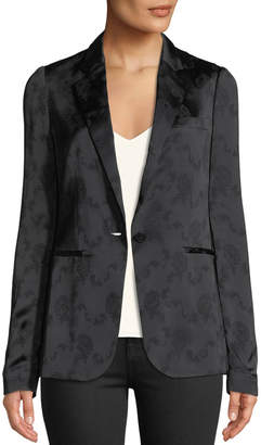 Theory Grinson One-Button Floral-Jacquard Viscose Blazer