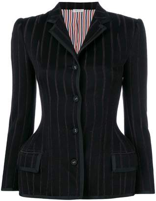 Thom Browne Banker Stripe Waisted Jacket With Grosgrain Tipping