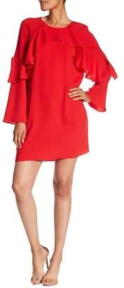 BCBGMAXAZRIA Cascading Ruffle Crepe Dress