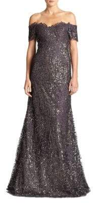 Peserico Sequined Lace Off-the-Shoulder Gown