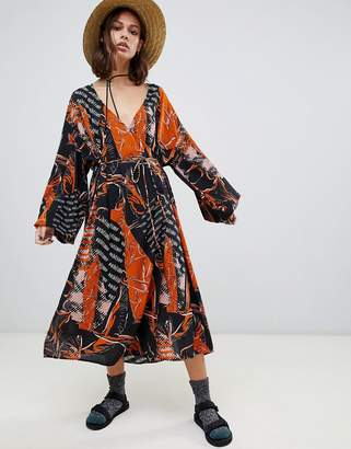 Weekday v neck midaxi smock dress in mixed print