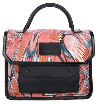 Philosophy di Alberta Ferretti Leather-Trimmed Abstract Printed Satchel