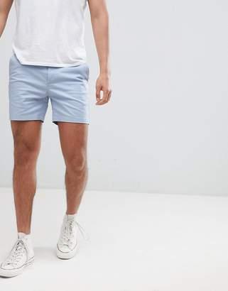 Asos DESIGN Skinny Shorter Chino Shorts In Dusky Blue