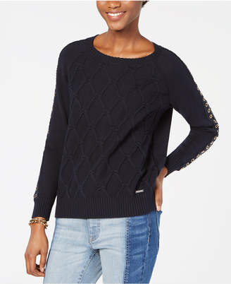 Tommy Hilfiger Cable-Knit Grommet-Sleeve Sweater