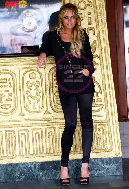 6126 Sweetheart Leggings in Black as seen on Lindsay Lohan