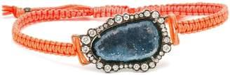 Kimberly Mcdonald 18kt white gold, dark geode and macramé bracelet