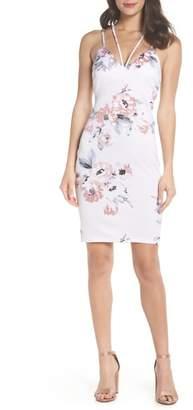 Sequin Hearts Floral Print Double Strap Scuba Dress