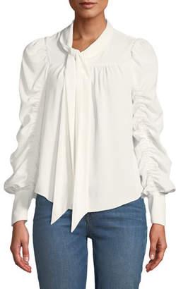Joie Kineta Gathered Tie-Neck Long-Sleeve Blouse