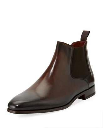 Magnanni for Neiman Marcus Leather Chelsea Boot, Dark Brown $475 thestylecure.com