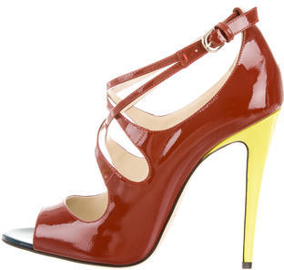 Brian Atwood Patent Leather Multistrap Sandals w/ Tags $245 thestylecure.com