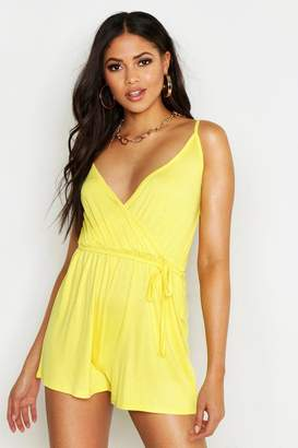 boohoo Tall Belted Wrap Jersey Playsuit