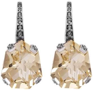 Stephen Dweck Silver Galactical Champagne Quartz Drop Earrings