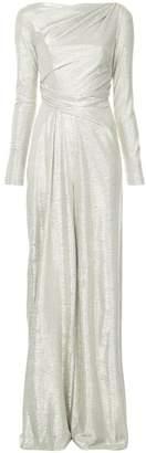 Talbot Runhof metallic folded gown