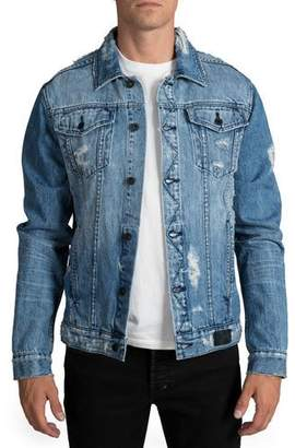 PRPS Men's Light Wash Destroyed Denim Jacket
