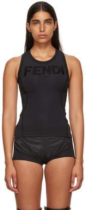 Fendi Black Neoprene Logo Tank Top