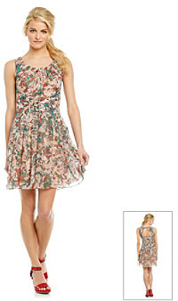 Jessica Simpson Gathered Scoopneck Floral Printed Dress