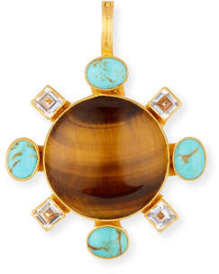 Dina Mackney Tiger's Eye Pendant with Turquoise & Topaz