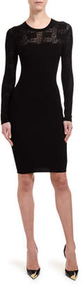 Versace Logo-Tattoo Knit Illusion Cocktail Dress