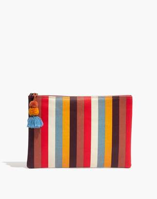 Madewell Large Pom-Pom Zip Pouch in Carousel Stripe