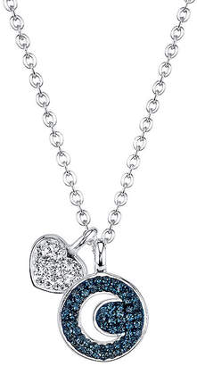 clear CRYSTAL SOPHISTICATION Crystal Sophistication Silver-Plated Blue & Crystal Moon & Heart Pendant