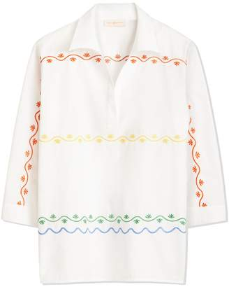 Tory Burch SCALLOPED EMBROIDERED TUNIC