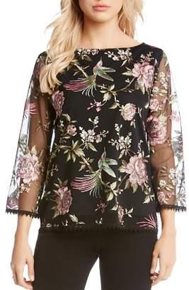 Karen Kane Floral-Embroidered Top