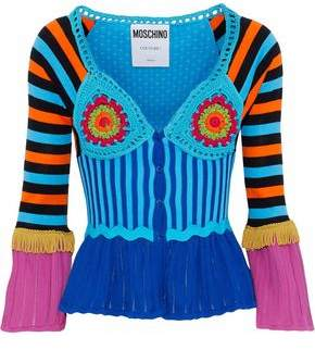 Moschino Fringed Crochet Stretch And Pointelle-Knit Cotton Cardigan