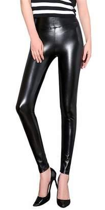 16fbbb0bdfce Nanquan Women High Rise Thick PU Faux Leather Fleece Lined Plus Size  Leggings US XL