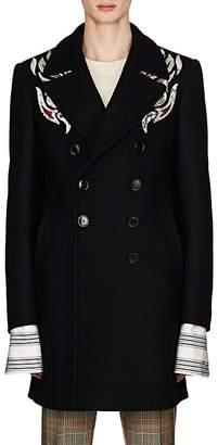 Dries Van Noten Men's Snakeskin-Embroidered Wool-Blend Melton Coat