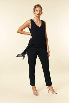 Wallis Womens Black Overlayer Jumpsuit - Black