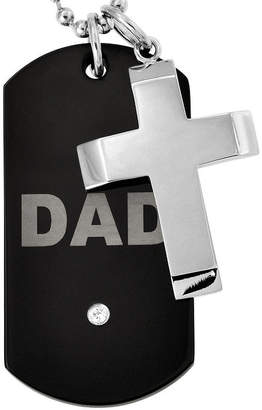 FINE JEWELRY Stainless Steel Dad Dog Tag & Cross Pendant