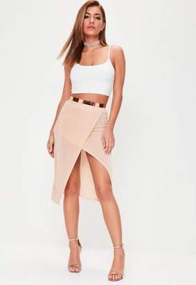 Missguided Nude Split Front Slinky Midi Skirt