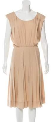 Rochas Pleated Silk Dress Tan Pleated Silk Dress
