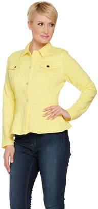 Isaac Mizrahi Live! Floral Knit Jacquard Snap Front Peplum Jacket