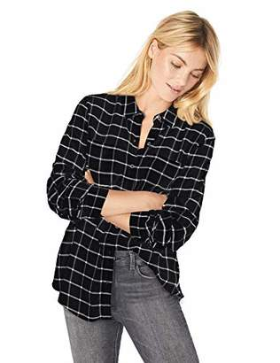 Calvin Klein Women's Roll Sleeve Windowpane with Collar
