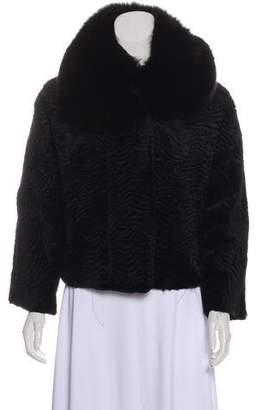 Adrienne Landau Fox-Trimmed Fur Jacket