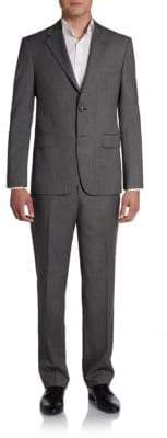 Hickey Freeman Chevron Striped Worsted Wool Suit