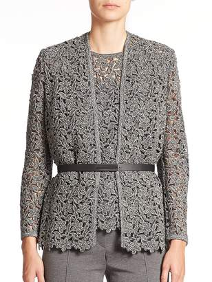 Escada Women's Belted Floral-Lace Knit Jacket