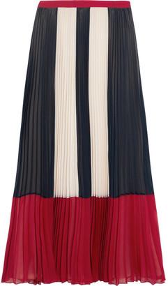 REDValentino - Color-block Plissé Chiffon Maxi Skirt - Blue $895 thestylecure.com