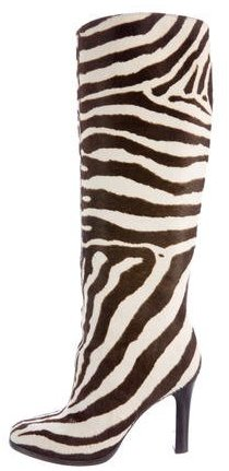 Ralph Lauren Collection Zebra Print Knee-High Boots